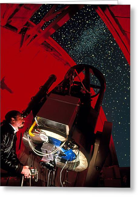 Astronomer Uses Telescope At Leuschner Observatory Greeting Card by David Parker