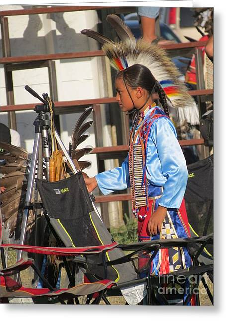 Greeting Card featuring the photograph At Blackfeet Pow Wow 03 by Ausra Huntington nee Paulauskaite