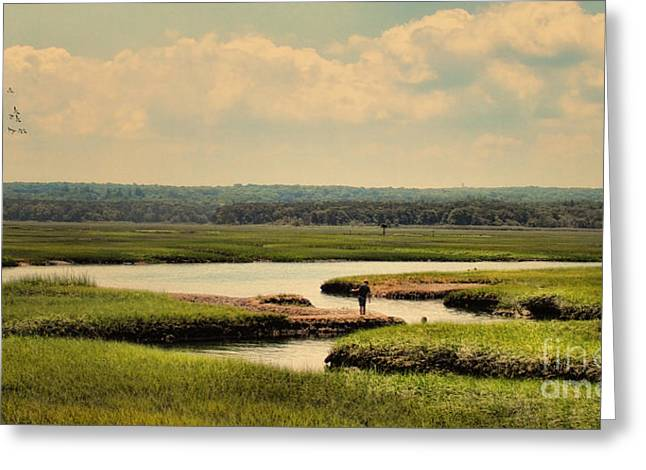 Greeting Card featuring the photograph At The Marsh by Gina Cormier