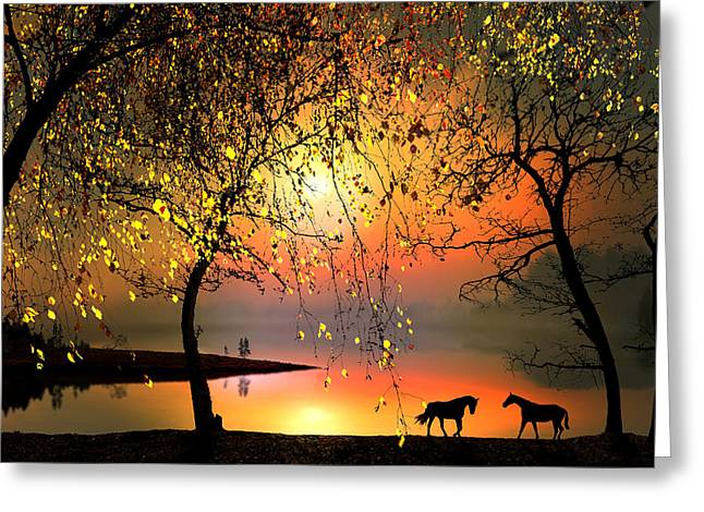 At The Sunset Greeting Card by Igor Zenin