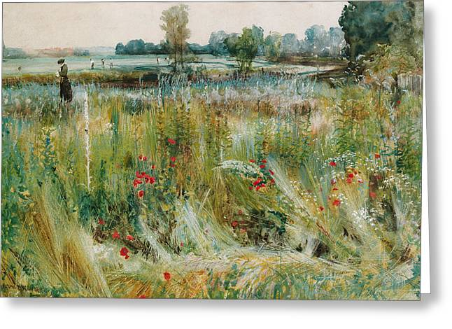 At The Water's Edge Greeting Card by John William Buxton Knight