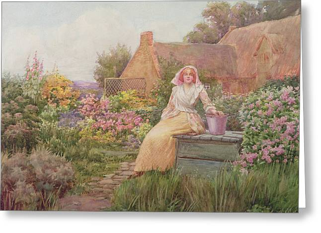 At The Well Greeting Card by William Ashburner