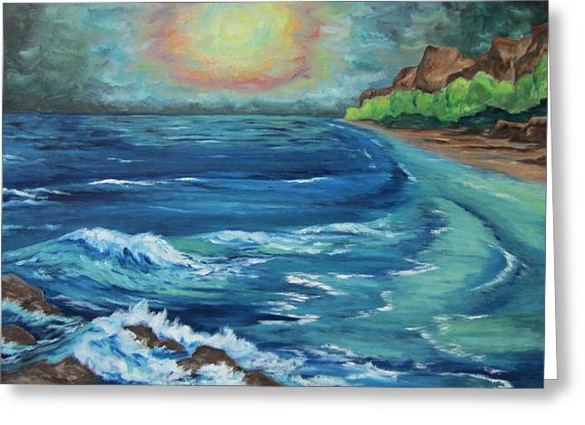 Greeting Card featuring the painting At Waters Edge by Cheryl Pettigrew