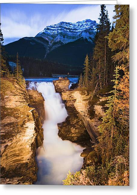 Athabasca Falls And Mount Kerkeslin Greeting Card by Yves Marcoux