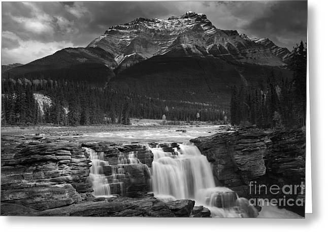 Athabasca Falls Jasper National Park  Greeting Card by Keith Kapple