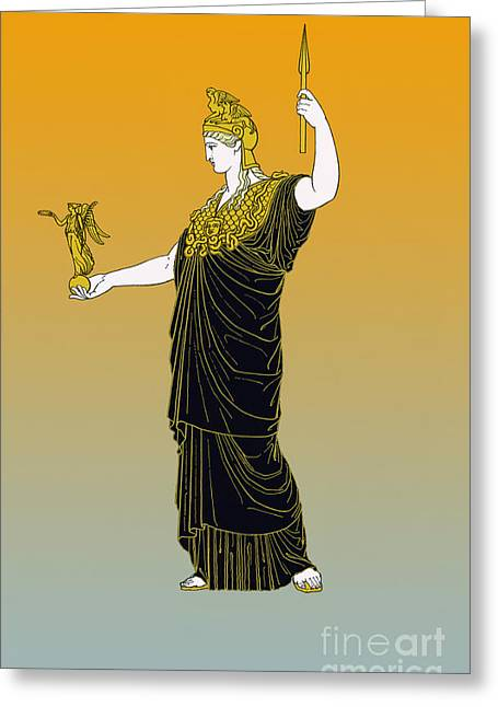 Athena, Greek Goddess Greeting Card by Photo Researchers