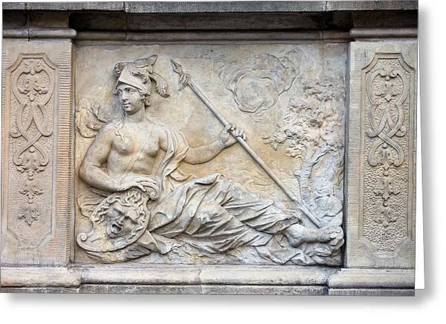 Athena Relief In Gdansk Greeting Card by Artur Bogacki