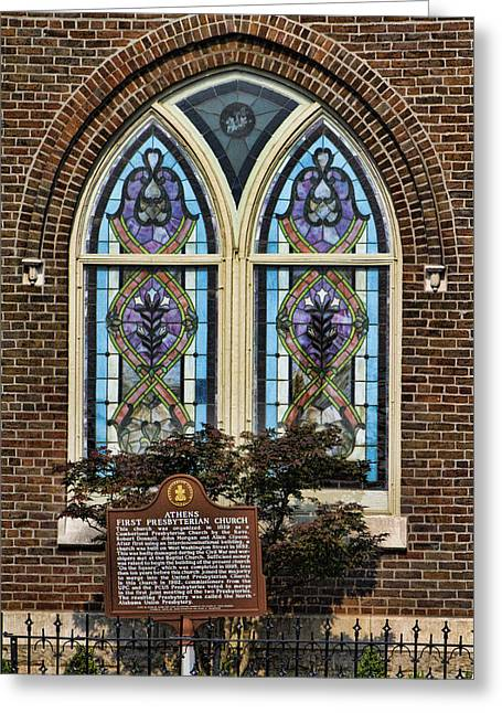 Athens Alabama First Presbyterian Church Stained Glass Window Greeting Card by Kathy Clark