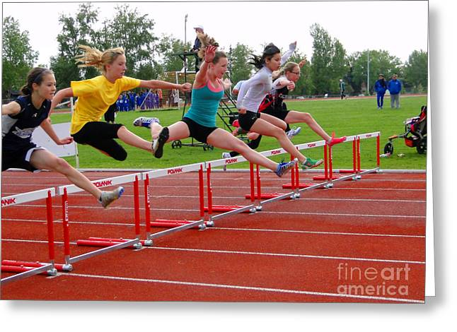 Athletic Hurdlers Competition Greeting Card by Al Bourassa