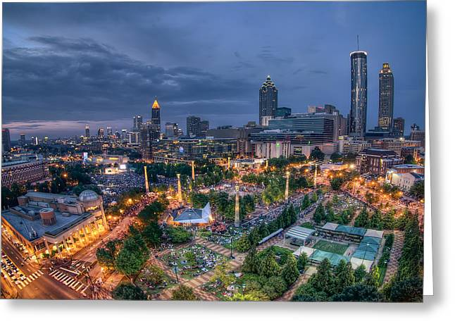 Greeting Card featuring the photograph Atlanta Centenial Park by Anna Rumiantseva