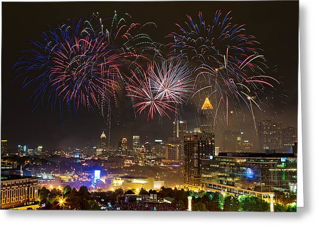 Greeting Card featuring the photograph Atlanta Fireworks by Anna Rumiantseva