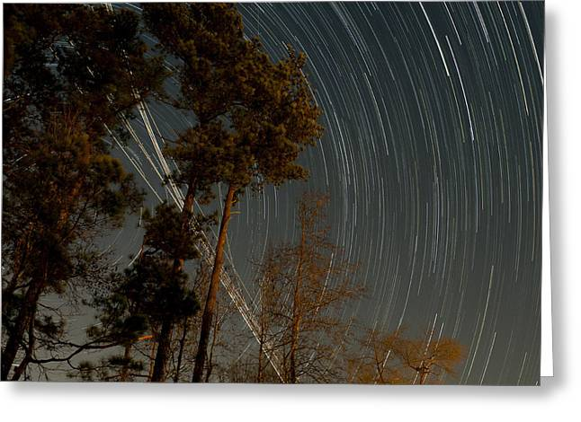 Greeting Card featuring the photograph Atlanta Star Trails by Ray Devlin