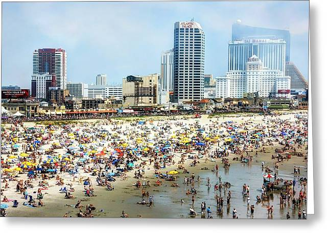 Atlantic City Beach Greeting Card by John Loreaux