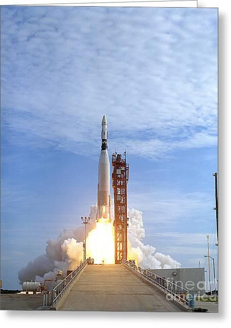 Atlas Agena Target Vehicle Liftoff Greeting Card by Stocktrek Images