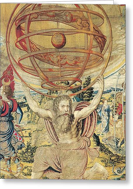 Atlas Supporting The Armillary Sphere Greeting Card by Photo Researchers