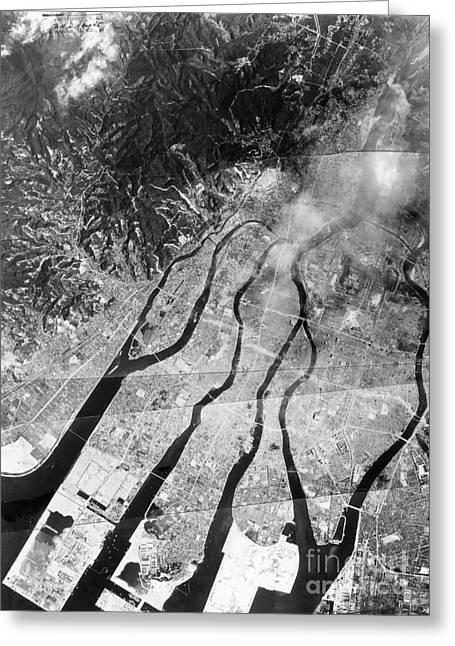 Atomic Bomb Destruction, Hiroshima, 1945 Greeting Card by Photo Researchers