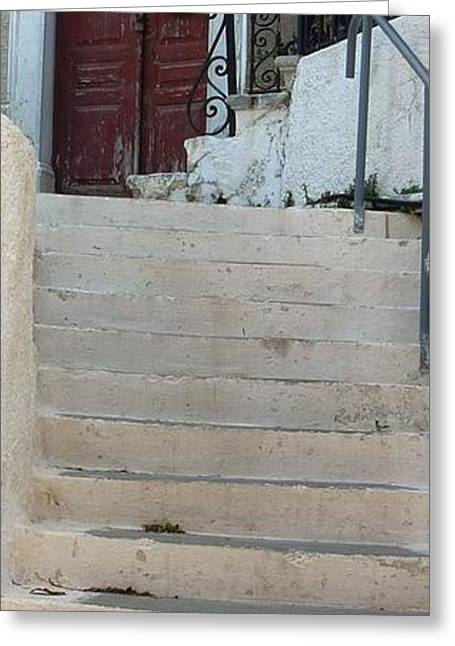 Atop The Stairs Greeting Card by Therese Alcorn