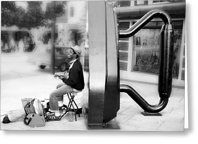 Atown Street Musician Greeting Card by Gray  Artus