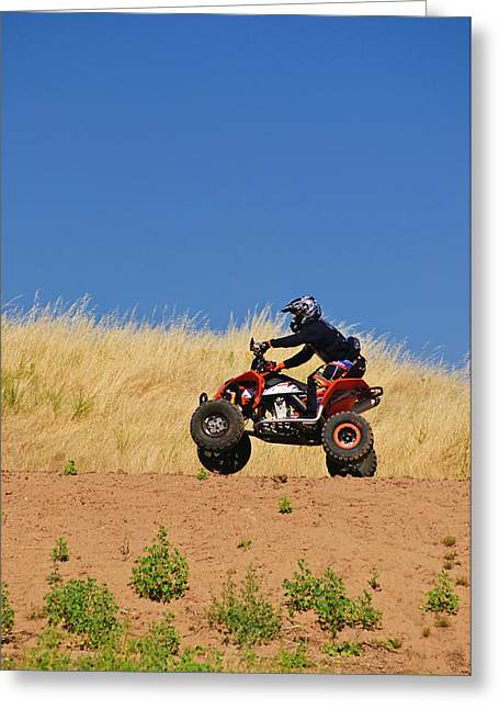 Greeting Card featuring the photograph Atv Action by Sherri Meyer