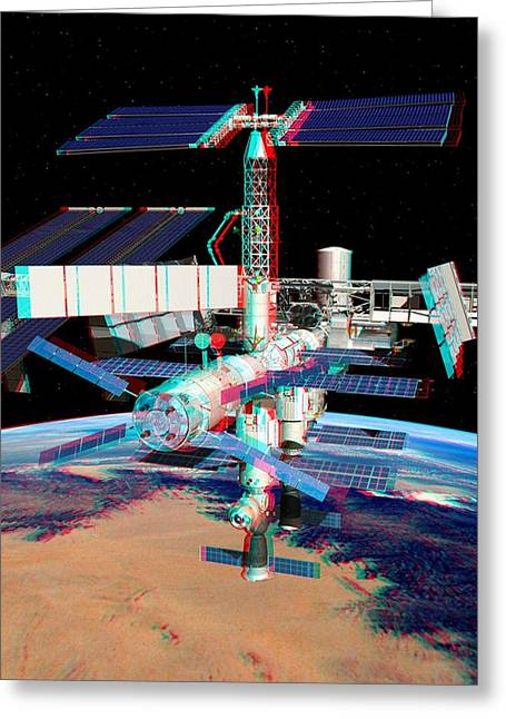 Atv Boosting The Iss, Stereo Image Greeting Card by David Ducros