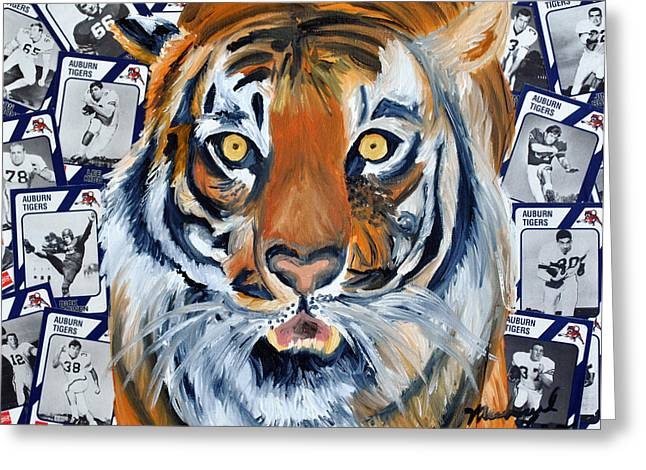 Auburn Tiger  Greeting Card by Michael Lee