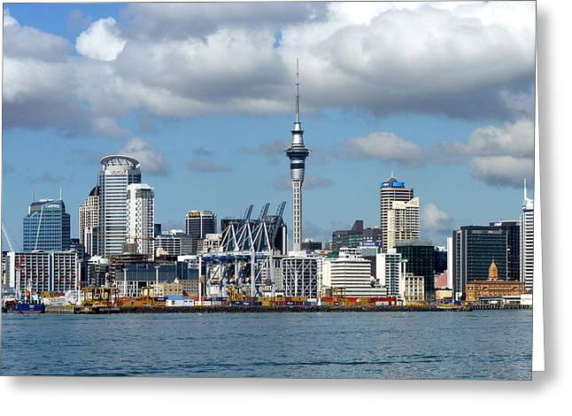 Auckland Skyline Greeting Card by Carla Parris