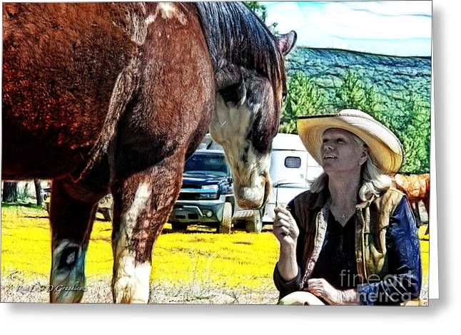 Greeting Card featuring the digital art Audrey And The Paint by Rhonda Strickland