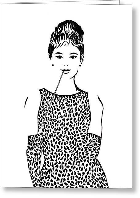 Audrey Hepburn Greeting Card by Georgeta  Blanaru