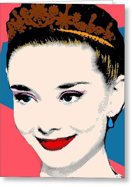 Audrey Hepburn Pop Art Coral Blue Greeting Card by Bao Studio