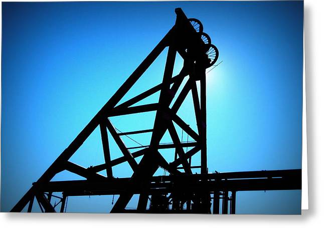 Audrey Mine Shaft Headframe In Jerome Greeting Card by Cindy Wright
