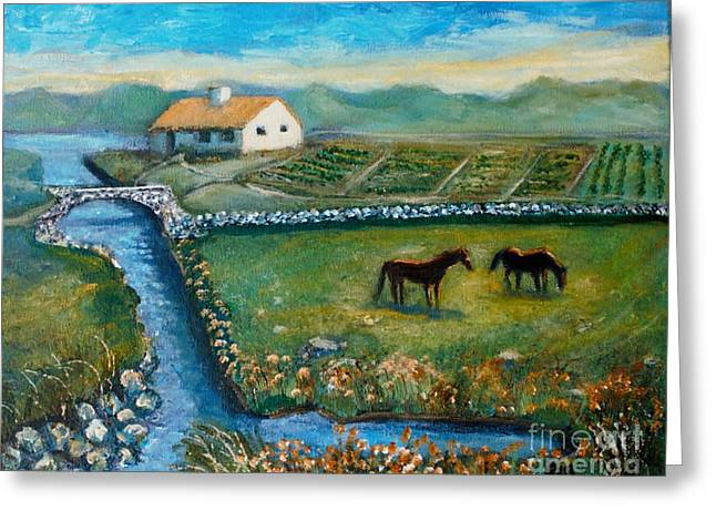 August Evening In Connemara Greeting Card by Rita Brown