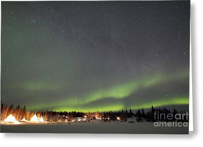 Aurora And Milky Way,  Aurora Village Greeting Card by Yuichi Takasaka