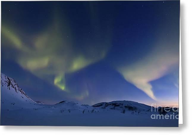 Aurora Borealis Over Skittendalen Greeting Card by Arild Heitmann