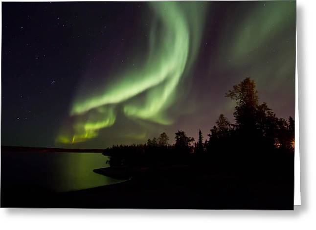 Aurora By The Lakeshore  Greeting Card