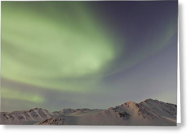 Auroras Over Mountains Greeting Card by Tim Grams