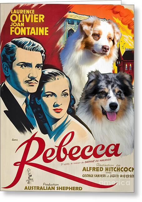 Australian Shepherd Art - Rebecca Movie Poster Greeting Card