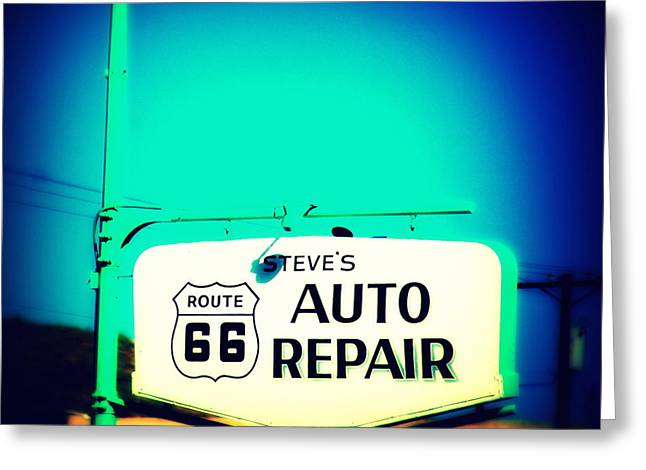 Auto Repair Sign On Route 66 Greeting Card by Susanne Van Hulst