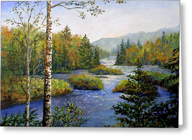Greeting Card featuring the painting Autum In Michigan by Lou Ann Bagnall