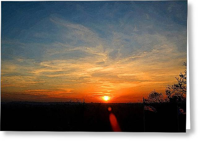 Autum Sunset Greeting Card by Michael Austin