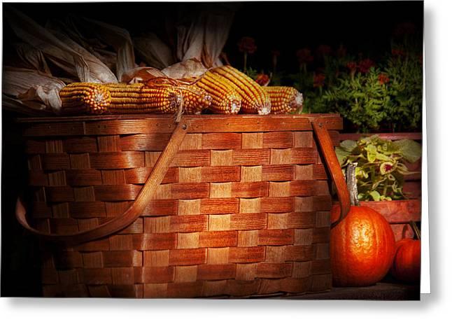 Autumn - Gourd - Fresh Corn Greeting Card by Mike Savad