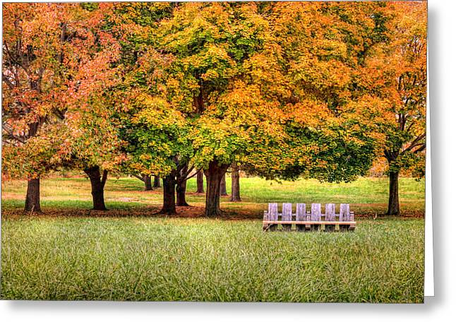Autumn And A Bench Greeting Card