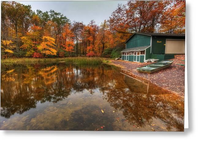 Autumn At Big Boulder Lake Greeting Card by Yelena Rozov