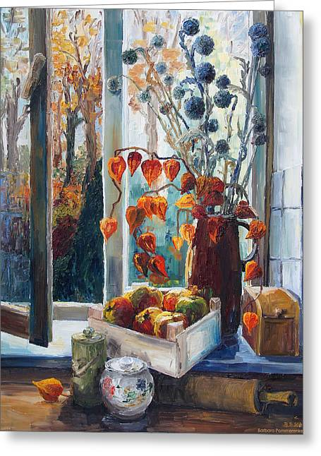 Autumn At The Kitchen Window Greeting Card by Barbara Pommerenke