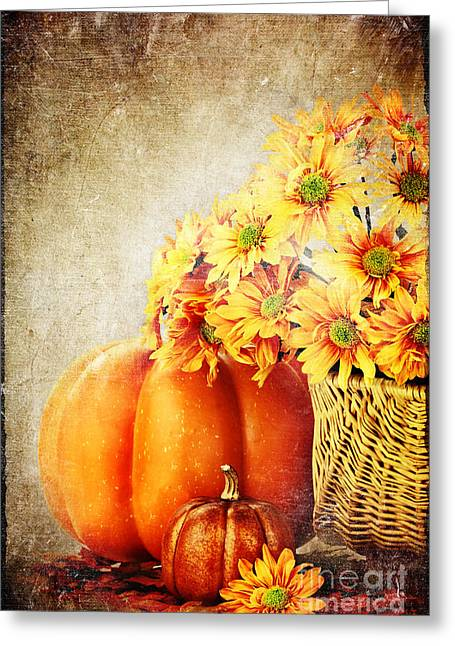 Autumn Background Greeting Card by Stephanie Frey