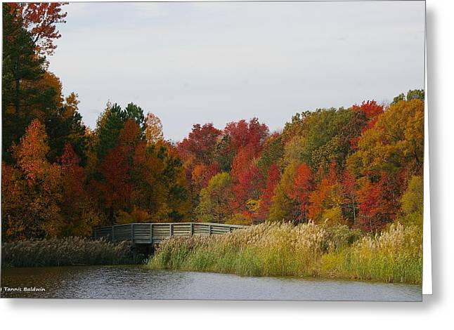 Greeting Card featuring the photograph Autumn Bridge by Tannis  Baldwin