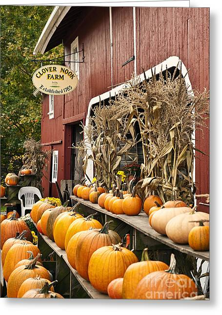 Autumn Farm Stand  Greeting Card by John Greim
