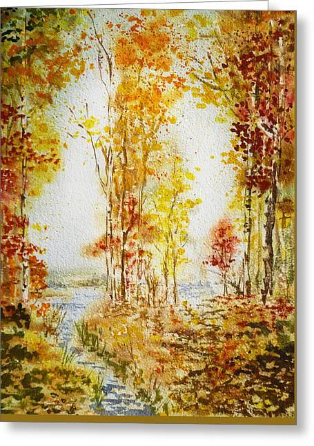 Autumn Forest Falling Leaves Greeting Card by Irina Sztukowski