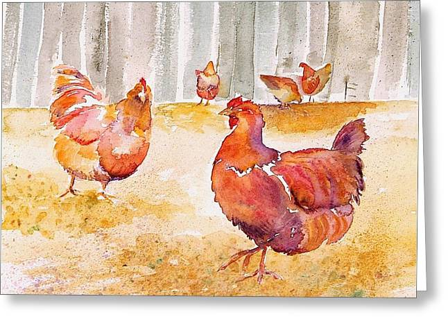 Autumn Hens Greeting Card by Carolyn Doe