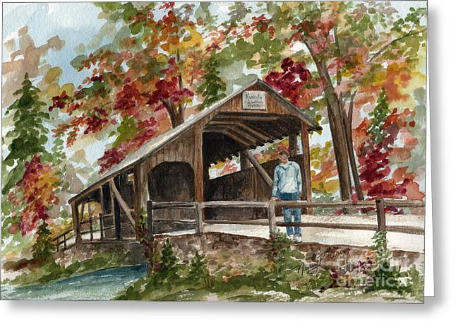 Greeting Card featuring the painting Autumn In Knoebels Grove  by Nancy Patterson