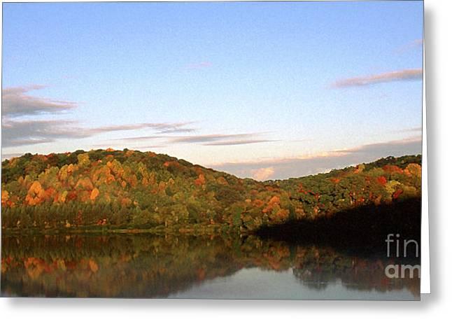 Autumn Lake Panoramic Greeting Card by Thomas R Fletcher